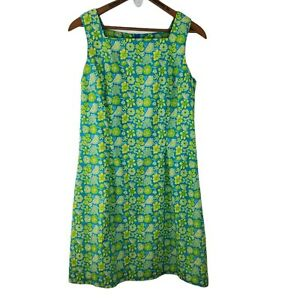 Lily Pulitzer Women's Vintage Blue/Yellow/Green Floral Shift Dress Size 8
