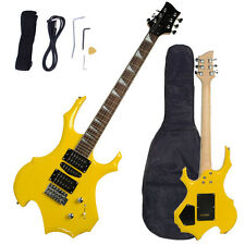 New Basswood Yellow Color Electric Guitar with Bag Strap Cabe Tremolo Bar Pick