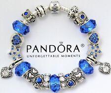 Authentic Pandora Silver Bracelet with Heart Love Blue European Charms~