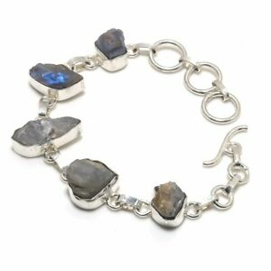 "Labradorite Gemstone Handmade Gift Jewelry Bracelet 7-8"" E092"