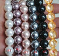 "8/10/12/14mm Natural Round South Sea Shell Pearl Gemstone Loose Beads 15"" AAA"