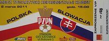 VIP TICKET 2.3.2011 Polska Polen - Slowakia Slowakei