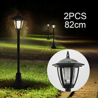 2PCS Garden Lights Lamp Post LED Solar Powered Walkway Outdoor Lantern Patio UK
