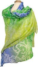 Sommer Schal Sarong Pareo Wickelrock Blau Grün Gelb, summer blue green stole