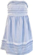 Greylin Strapless Mini Dress S Blue White Stripe Raw Edge Strips Lined