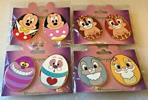 Disney pin 8 Easter Egg pins Mickey Minnie Chip Dale Cheshire White Rabbit more