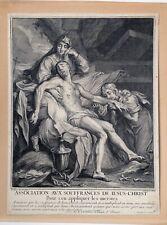 Old Master Antoine DIEU Jean Audran Gospel Scene Jesus Burial antique early 1700