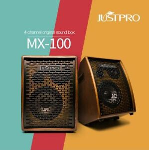 JUSTPRO MX-100 100W Acoustic Amplifier for Electric / Acoustic Instruments,Brown