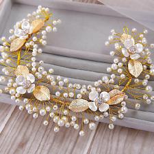 Luxury Fashion Wedding Bridal Gold Leaf Pearl Crystal Flower Hair Band Head Band