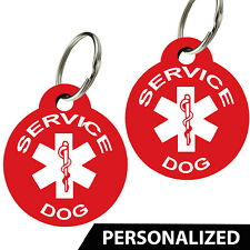 CNATTAGS Service Dog ID Tags - Personalized Front and Back Premium Aluminum Set