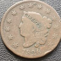 1826 Large Cent Coronet Head One Cent 1c Mid Grade #28995