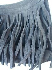 Old Navy Purse Brown Real Suede Fringed Boho Hippie Hand Bag Clutch 60s inspired