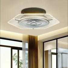Ceiling Fan With Light kit Remote Control LED Transparent Lamp Dimmable Silver