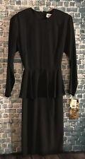 Vintage Melissa Black Dress Ruffle Overlay Size 8 Nwt