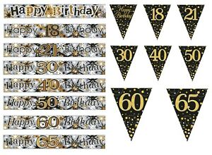 BIRTHDAY BANNERS /  GOLD / BLACK / SILVER  AGES 18 21 30 40 50 60 65 PARTY (SE)
