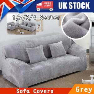 Grey Velvet Plush Sofa Cover for Living Room Elastic Furniture Couch Slipcover