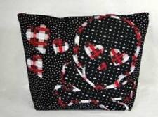 """NWT"" Rockabilly Skull Large Red Tartan Plaid Applique Goth Skull & Hearts Purse"