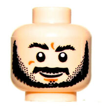 LEGO NEW DUAL SIDED MINIFIGURE HEAD LIGHT FLESH WITH BLACK BEARD GUY FACE GRIN