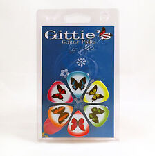 6 Pack BUTTERFLYS COLORS ASSORTED KIDS FUN Medium Gauge Guitar Picks Plectrum