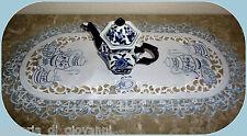 """TEATIME 27"""" Lace Doily Table Runner Dresser Scarf White Blue Tea European"""