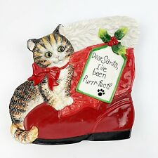 FITZ & FLOYD Claus and Paws Kitty Christmas Cookie Plate Santa I've Been Purfect