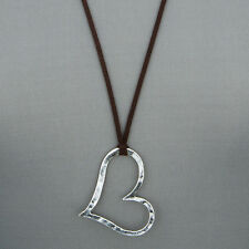 Long Brown Leather Antique Silver Open Heart Design Pendant Necklace