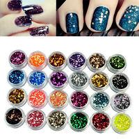 24Farbe/Set Nail Art Nagel Kunst Glitter Puder Pulver Nagel Für UV-GEL Dekor Tip