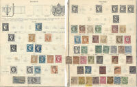 SCARCE 1850-1900 FRANCE STAMP LOT ON ALBUM PAGE. IMPERF, QUEEN, KING AND MORE