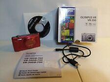 OLYMPUS VR VR-350 16.0 MP DIGITAL CAMERA RED 10X ZOOM 24MM IN BOX PLUS EXTRAS