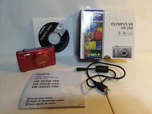 OLYMPUS VR VR-350 16.0 MP DIGITAL CAMERA RED 10X ZOOM 24MM IN BOX PLUS EXTRAS