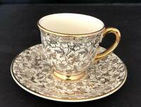 Homer Laughlin Georgian Karol China Demitasse Coffee Cup And Saucer 22Kt Gold