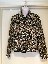Maggy London Black Beige Quilted 100% Silk Lined  Blazer Jacket Sz 10 EUC