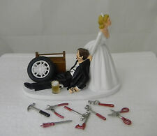 Wedding Reception Mechanic Tools Grease Tire Tool Beer Mug Drunk Cake Topper