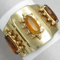 "Vtg 1940's Victorian Revival Amber Glass Signed ""R"" Wide Hinged Bracelet"