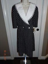 Vtg 80s Does 40s Whirlaway Frocks Black White Polka Dot Crawford Style Dress 12