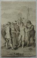 KUPFERSTICH vor 1800 MITTELALTERLICHE SZENE ca. 6 x 9 cm