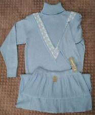 NWT 80's Savion Powder Blue 2 Pc Knit Pullover Sweater & Skirt Set Size 14