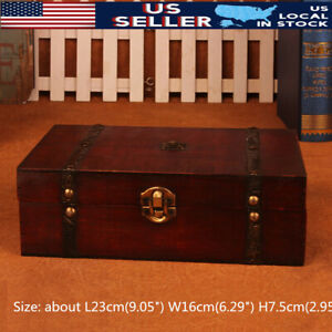 Wood Treasure Chest Wooden Jewellery Earrings Storage Box Case Organizer Holder