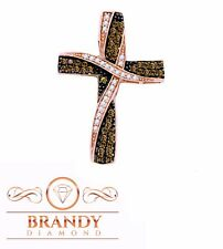 Brandy Diamond® Chocolate Brown 10K Gold Ribbon Cross Necklace Pendant .60 Ct