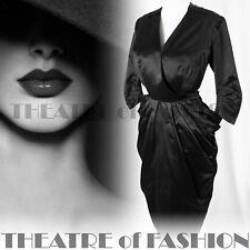 VINTAGE SILK DRESS 40s WEDDING COUTURE 50s 12 14 16 18 SHEATH PEPLUM NOIR VAMP