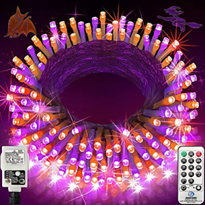 Halloween Lights Outdoor 200 LED 66ft Purple and Orange String Lights with 8 & &