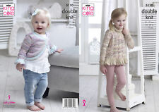 Childrens Double Knitting Pattern Girls Frilly Jumper & Cardigan King Cole 5110