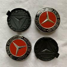For Mercedes Benz Wheel Center Caps Emblem Black Red Chrome Hubcaps 75MM C180