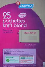 25 GRANDES ENVELOPPES KRAFT - ADHESIVES - 22,9 x 32,4 cm