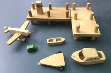 vtg CREATIVE PLAYTHINGS Finland Wood MCM TOY LOT Marina Airport Vehicles As-Is