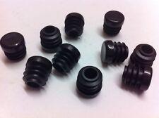 "10 Black Plastic Blanking End Cap Caps Round Tube Pipe Insert 12.7mm / 1/2"""