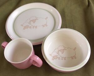 Mikasa BO-PEEP Pink Children's 3pc SET Plate, Bowl, 2 Handle Cup DARLING CC003