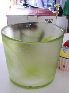 KOSTA BODA LARGE Lime Green Serving Bowl H16cm Boxed - Sweden