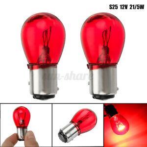 2x RED 12V 21/5W BAY15D 1157 380R 380 Bulb Car Brake Stop + Tail Rear Lamp