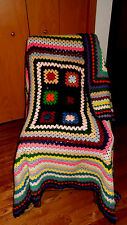 "~HANDMADE CROCHET GRANNY SQUARE AFGHAN MULTI COLOR AFGHAN THROW BLANKET 66""X68"""